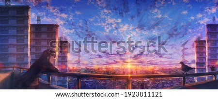 aesthetic panorama illustration shot of an anime girl standing against the balcony