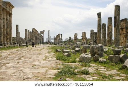 Afamea, Syria. Ruins of an old city Ruins of an old city. III century BC One of the most interesting monuments of Syria.