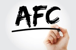 AFC - Average Fixed Cost acronym with marker, business concept background