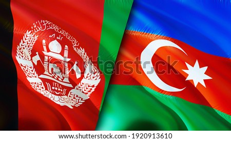 Afghanistan and Azerbaijan flags. 3D Waving flag design. Azerbaijan Afghanistan flag, picture, wallpaper. Afghanistan vs Azerbaijan image,3D rendering. Afghanistan Azerbaijan relations alliance and