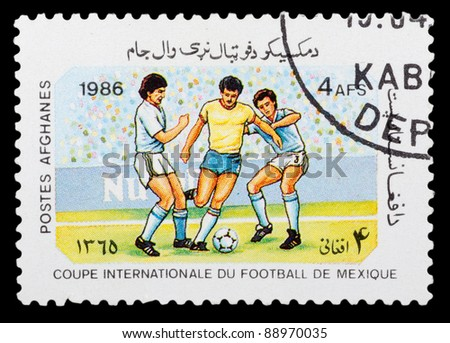 AFGHANISTAN - CIRCA 1986: a stamp printed by Afghanistan shows football players. World football cup in Maxico, series, circa 1986