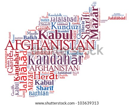 Afghanistan map and words cloud with larger cities