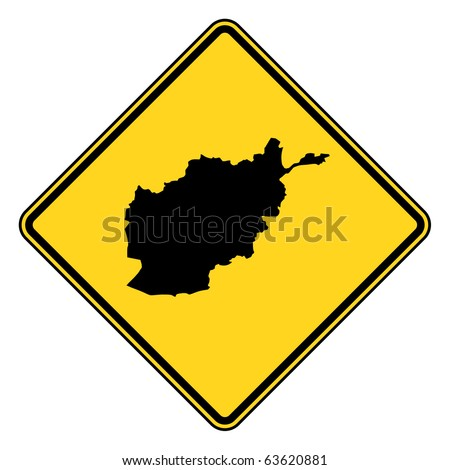 Afghanistan map road sign in yellow, isolated on white background.