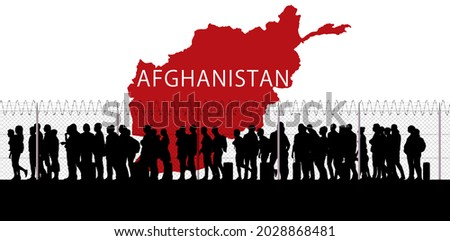 Afghanistan refugee emergency, escape from cities to reach the borders with other states. Taliban danger. Column of migrants. Fence and barbed wire.Black and white silhouette. 3d rendering Stockfoto ©
