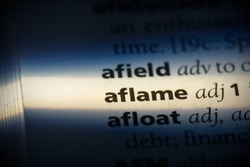 aflame word in a dictionary. aflame concept, definition.