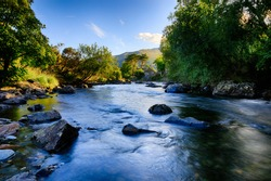 Afon Glaslyn in North Wales (Cymru), UK, flowing past the village of Beddgelert.