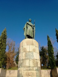 Afonso Henriques statue, in the portuguese city of Guimarães. Nicknamed the Conqueror, he was the first King of Portugal - Afonso I  and achieved the independence of the County of Portugal