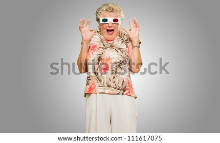 Afraid Senior Woman Wearing 3d Glasses Isolated Over Gray Background