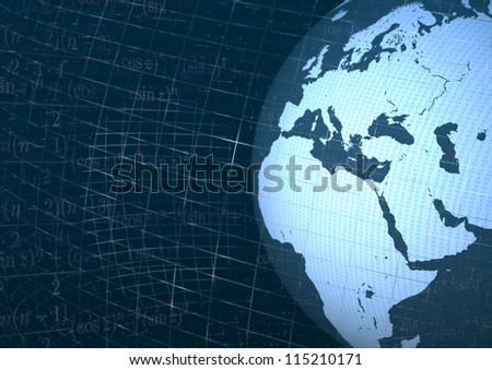 Africa and europe in the world with numbers abstract background blue