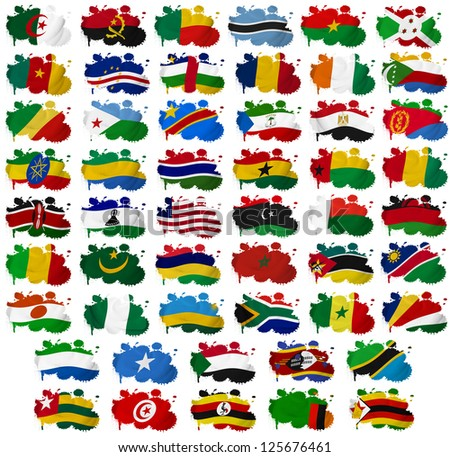 Africa countries flag blots on a white background