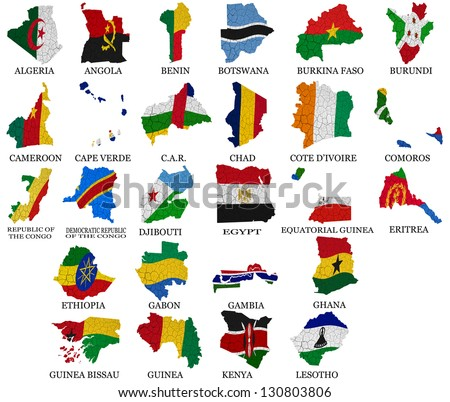 Africa countries(From A to L) flag maps on a white background