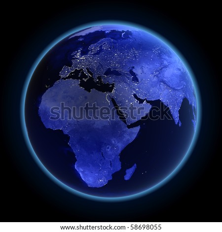 Africa, europe and asia. Maps from NASA imagery - stock photo