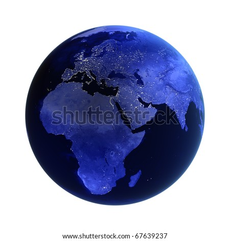 Africa, europe and asia on white. Maps from NASA imagery