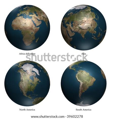 Africa- Europe - Asia- America aspect of Earth