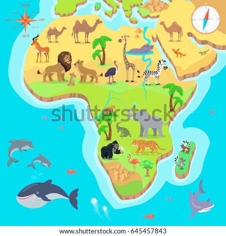 Africa mainland cartoon map with local fauna. Cute african animals flat . Savannah predator. Desert species. Jungle wildlife. Atlantic ocean life. Nature concept for children s book illustrating