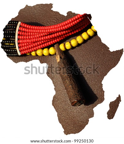 Africa map as shape with body picture inside