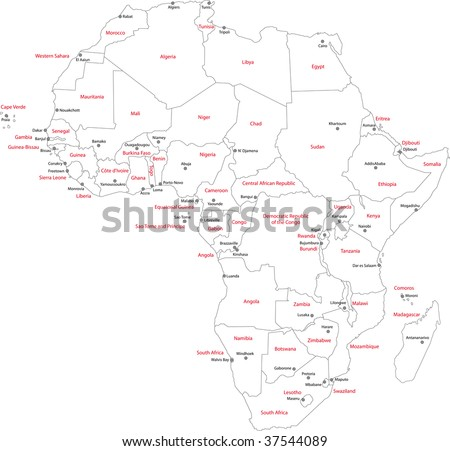 outline map of africa with countries labeled. map+with+countries+labeled