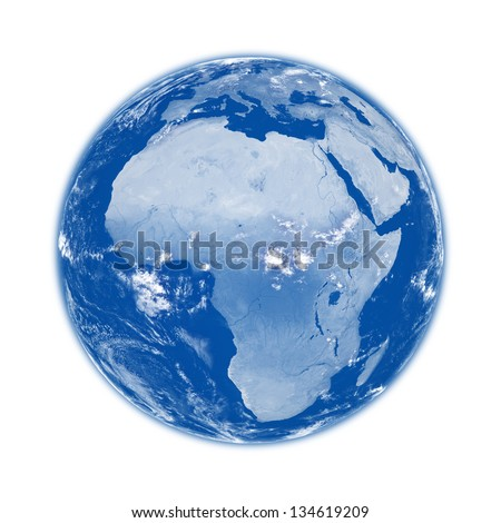 Africa on blue planet Earth isolated on white background. Elements of this image furnished by NASA.