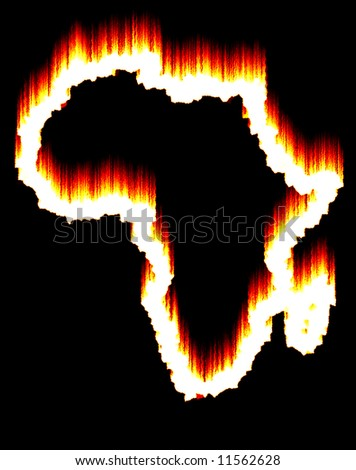 Africa on fire (continent contour)