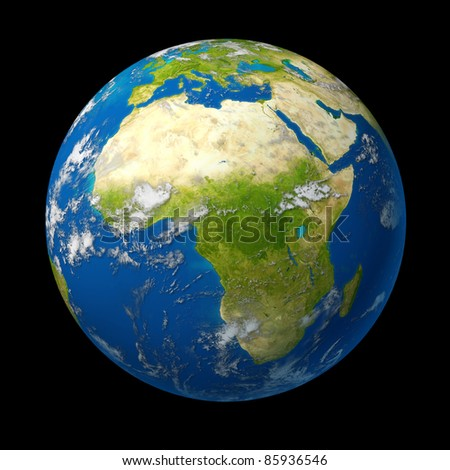 Africa on the globe featuring the middle east and south Africa and Northern African countries as Libya and Egypt as well as Zimbabwe and Angola surrounded by blue ocean.