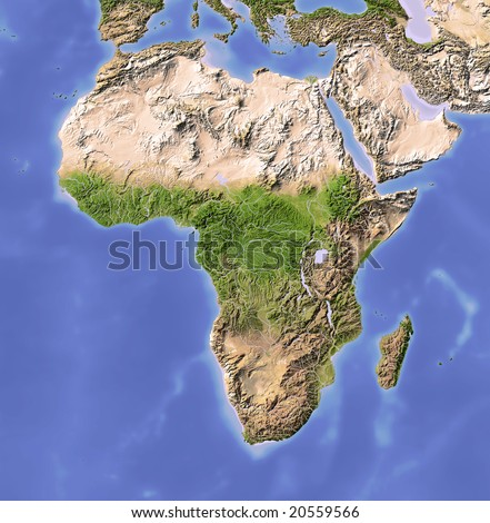 Africa. Shaded relief map. Colored according to vegetation. Projection Data source: NASA