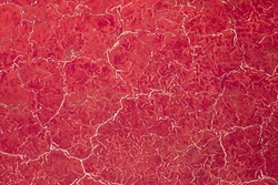 Africa, Tanzania, Aerial view of patterns of red algae and salt formations in shallow salt waters of Lake Natron