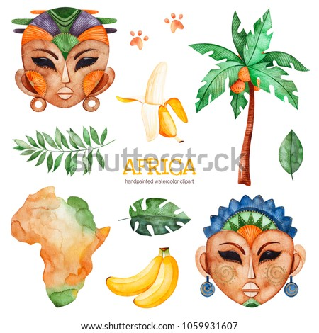 Africa watercolor set.Safari collection with palm tree,banana,leaves,african woman,men masks,Africa continent.Perfect for wallpaper,print,packaging,invitations,Baby shower,patterns,travel,logos