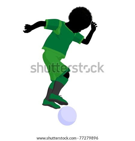 stock photo : African ameircan male tween soccer player art illustration ...