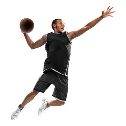 African american basketball player in action with a ball isolated on white background