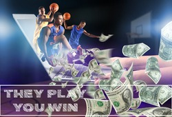 African-American basketball players running through screen of laptop and flying dollar banknotes on dark background. Concept of sports betting
