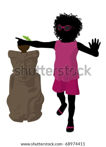 African american beach girl with tiki illustration silhouette on a white background - stock photo