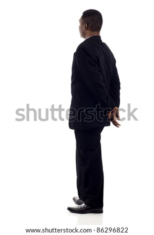 African American, Black business man from the back looking at something isolated white background