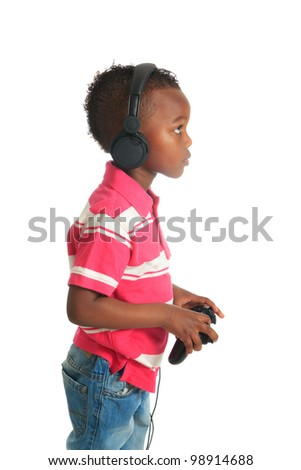 african american black child listening to music isolated metisse curly hair