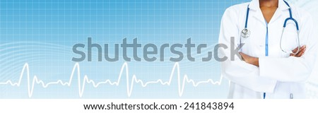 African-American black doctor woman over blue background.