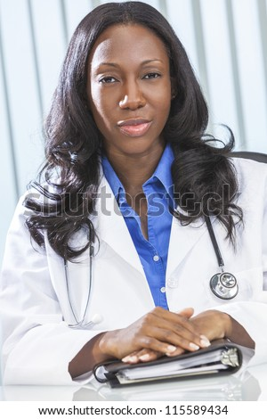 African American black female medical doctor in a hospital office