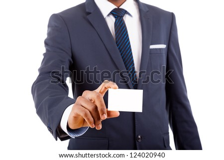 African American business man showing his business card, isolated on white