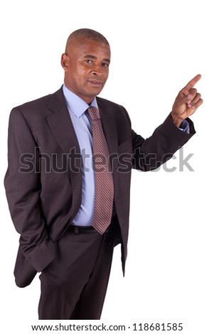 African American business man showing something on white