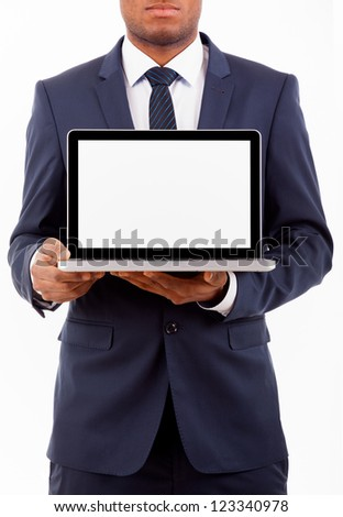 African American business man with a laptop computer isolated over a white background