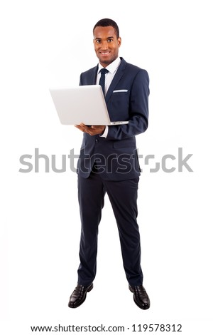 African American business man with laptop, isolated on white