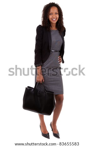 African american business woman holding  a handbag