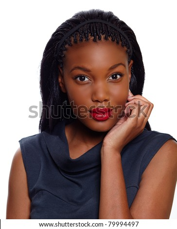 African American business woman holds hand on her face as she is listening over white background