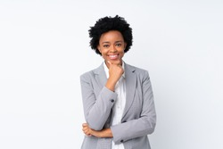 African american business woman over isolated white background laughing
