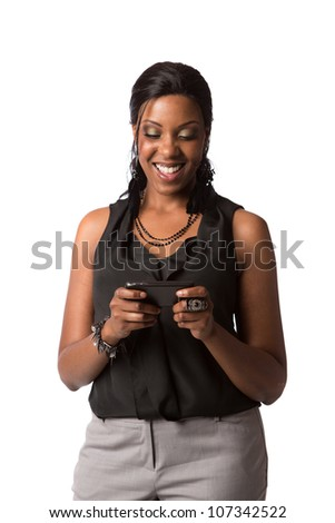 African American Business Woman Texting on Cell Phone Looking down Isolated on White Background
