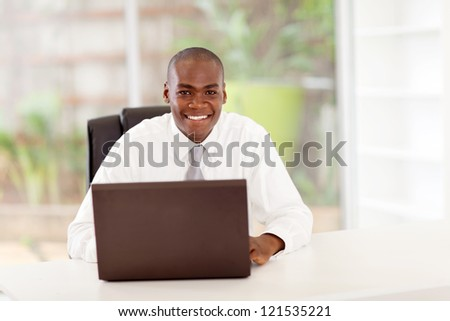 african american businessman in office