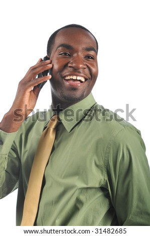 African American businessman on the cell phone smiling isolated on a white background