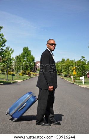 African American Businessman Traveling - stock photo