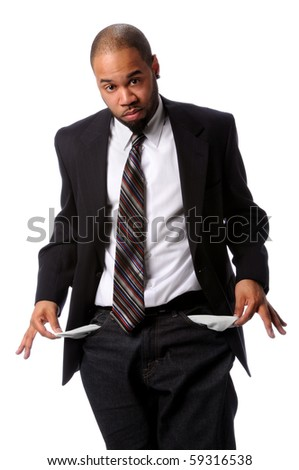 African American businessman with empty pockets isolated over white background