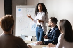 African American businesswoman giving flip chart presentation at briefing, female coach mentor explaining project strategy, plan, explaining diagrams, employee presenting financial report with stats