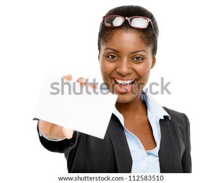 African American businesswoman holding white card isolated on white background