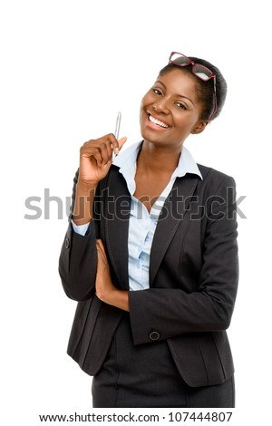 African American businesswoman on white background